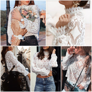 Sexy Hollow Out Embroidery Feminine Blouse Long Lantern Sleeve - FrankyTee