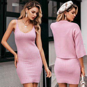 Slim Sleeveless Knitted Sweater Dress Elegant 2 Pieces - FrankyTee