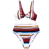 Swimsuit Two Pieces Stripe and Floral Strappy High-Waisted Bikini Set Sexy Cut Out - FrankyTee