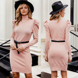 Turtle Neck Bodycon Winter Knitted Pink Sweater - FrankyTee