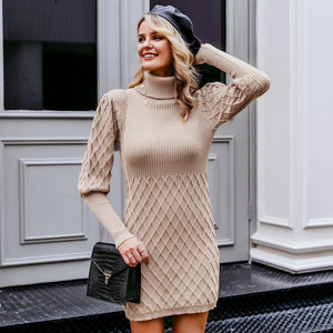 Turtleneck Long Cable Knitted Vintage Sweater Dress Autumn Design - FrankyTee