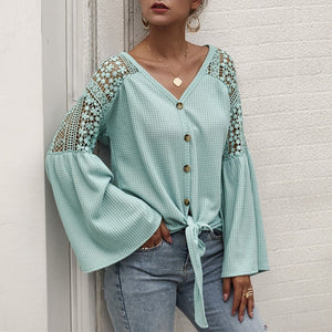 V-neck Blouse Elegant Lace Embroidery Hollow Out Loose Sleeve - FrankyTee