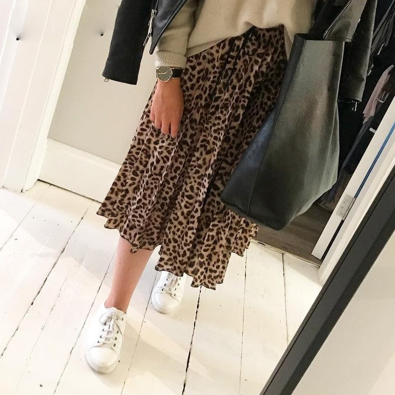 Vintage Leopard Pleated Long Skirts - FrankyTee