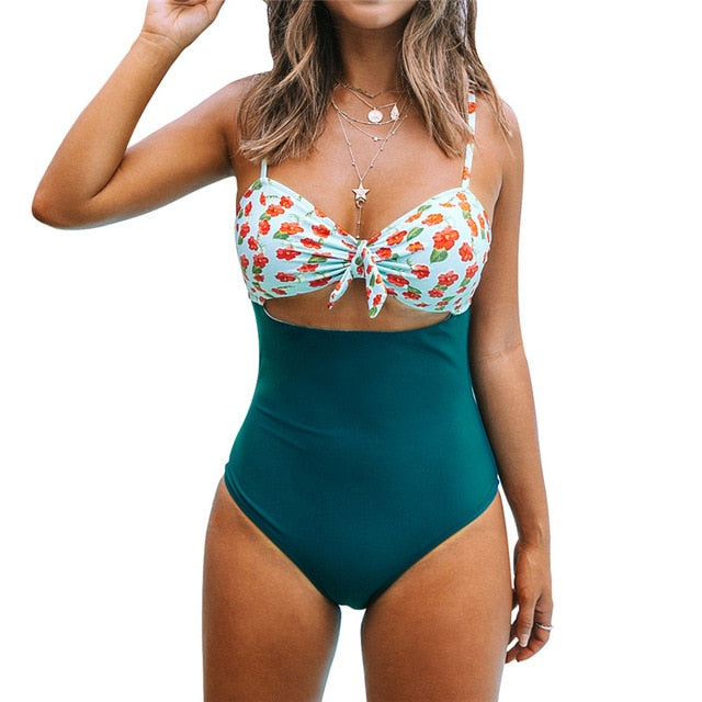 Mini Hibiscus and Solid Blue Sexy Cut Out Bowknot One-Piece Swimsuit - FrankyTee