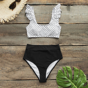 High-waisted Bikini Sets Swimsuit Black and White Plaid Two Pieces Swimwear - FrankyTee