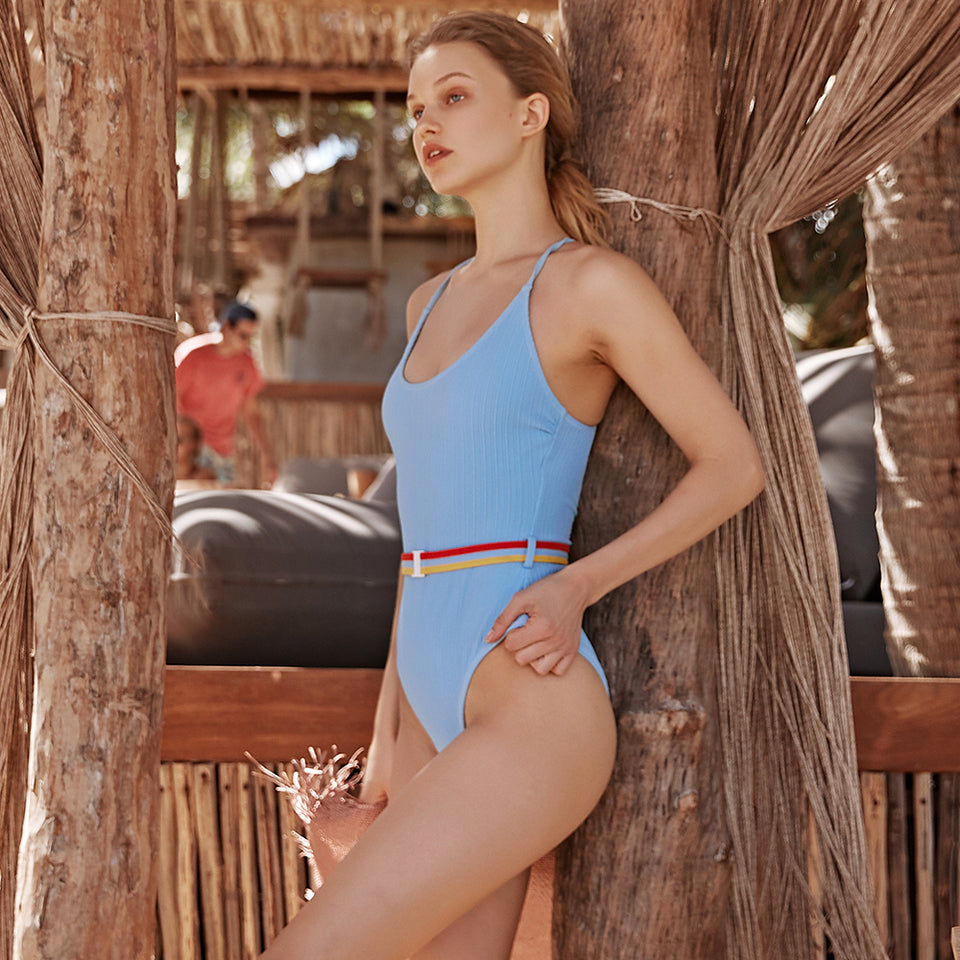 Monokini Solid Cutout Blue One Piece Swimsuit with Single Belt Beach Bathing Suit - FrankyTee