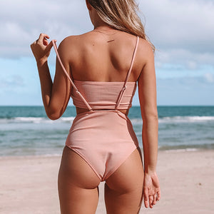 Beach Bathing Suits Swimwear Pink Bandeau High-waist Bikini Sets Two Pieces - FrankyTee