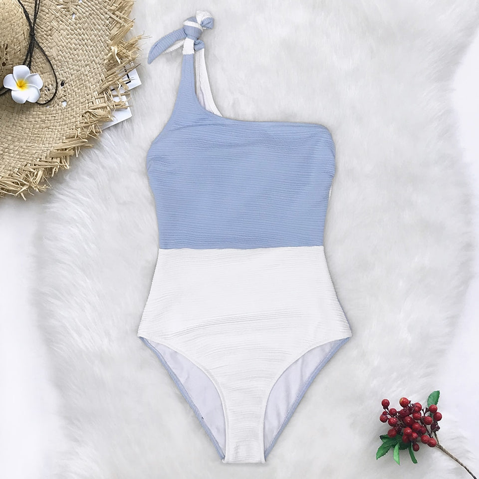 Blue And White Colorblock One Shoulder One-Piece Swimsuit Women Tied Bow - FrankyTee