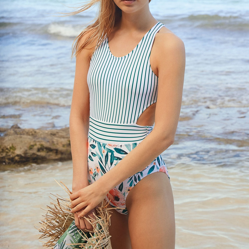 Monokini Flora And Striped U-neck Tied Bow Zip Back Patchwork Swimsuit - FrankyTee
