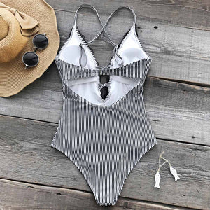 Swimsuit Cutout Deep V neck Sexy Bodysuit Wish You Well Lace One-piece - FrankyTee