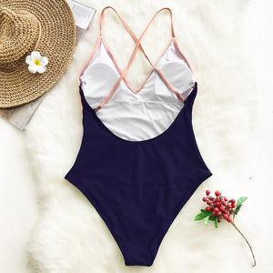 Cross Block V-neck Backless One-piece Swimsuit Patchwork Monokini - FrankyTee