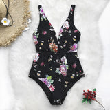 Black Floral Print Lace-Up One-Piece Swimsuit Women Ruched Sexy Swimwear - FrankyTee