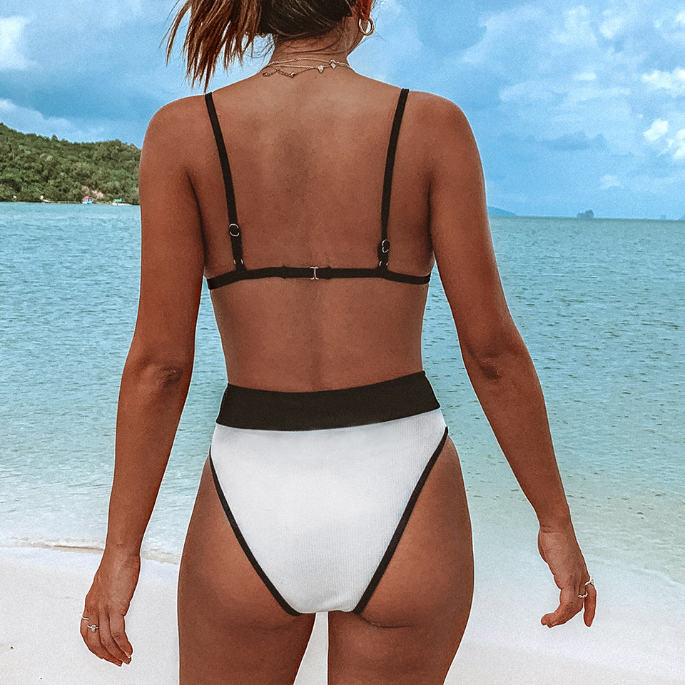 Strappy Black and White Triangle Bikini Sets Sexy Swimsuit Two Pieces Swimwear - FrankyTee