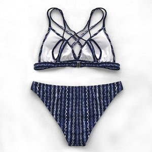 Bathing Suit Two Piece Sexy Swimsuit Strappy Navy And White Bikini Sets Sexy Triangle - FrankyTee