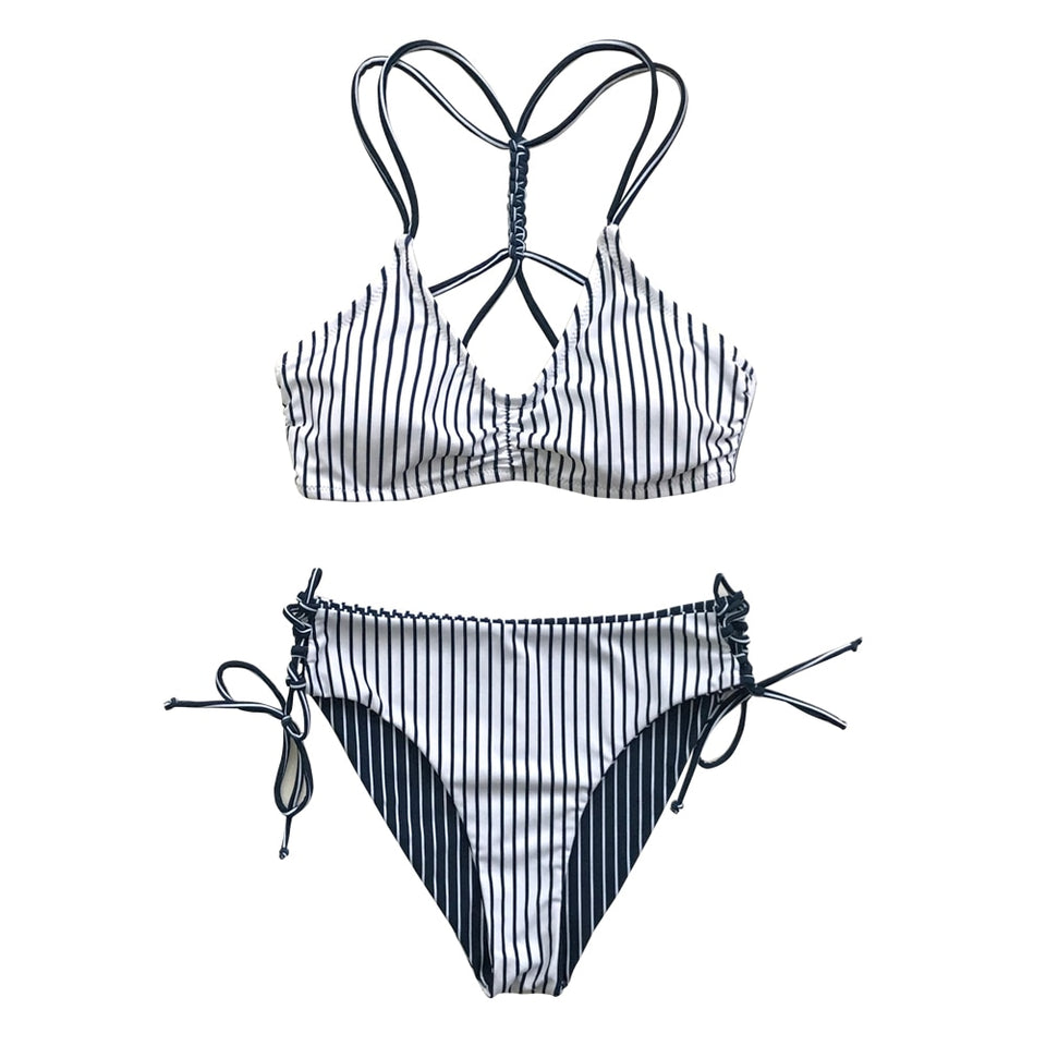 Two Pieces Swimsuit Cute Navy And White Stripe Strappy Beach Bathing Swimwear - FrankyTee