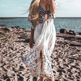 Wild Flower Bikini Cover Up Sexy Lace Up Long Dress Capes Cute Beach Bathing Suit - FrankyTee