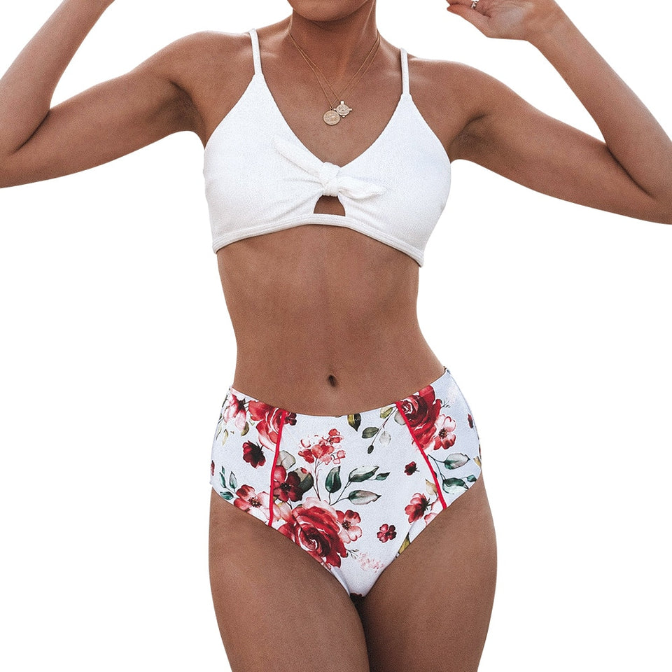 Ivory and Rose Knotted Two Pieces Swimwear High-Waisted Bikini Sets Sexy Cut Out - FrankyTee