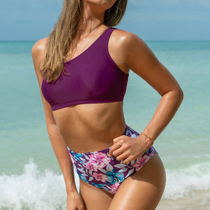 One-Shoulder High-Waisted Floral Plum Tank Bikini Two Pieces Beach Bathing Suit - FrankyTee
