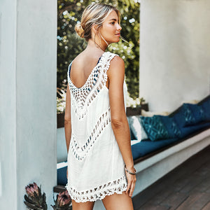 White Crochet Sleeveless Tunic Cover Up Sexy Dress Cover Lace Up Beach Wear - FrankyTee
