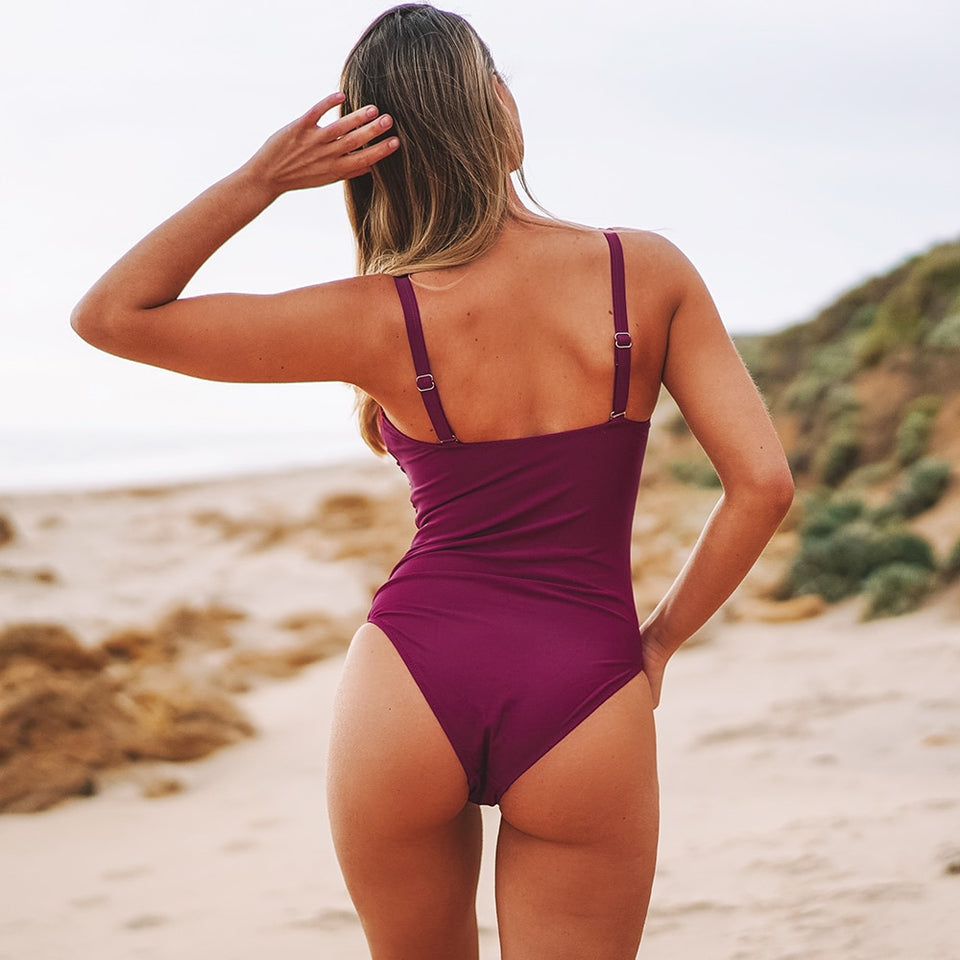 Berry Red Ruched One-Piece Swimwear Solid Push Up Beach Bathing Suits - FrankyTee