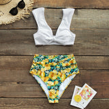 Beach Bathing Suits Yellow High-Waisted Bow-knot Tank Top Swimsuits Two Pieces Swimwear - FrankyTee