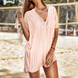 Pink Crochet Tassels Sexy Cut out V-neck Side-tie Dress Cover Up Lace Beach Suits - FrankyTee