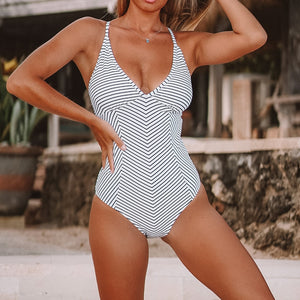 Black And White Stripe Crisscross Monokini V-neck One-Piece Swimsuit - FrankyTee