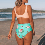 High-waisted Bikini Sets Sexy Pink And Green Floral  Women Beach Bathing Suits - FrankyTee