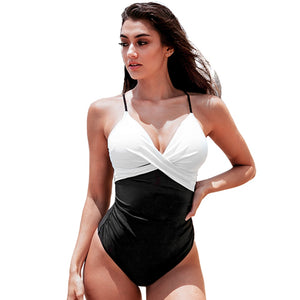 White and Black Twist Front Swimsuit Sexy Backless Padded Women Bodysuit Swimwear - FrankyTee