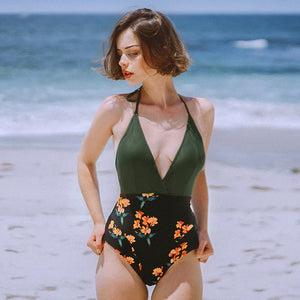 Green and Black Floral Halter One-Piece Bikini Sexy V-neck Backless - FrankyTee