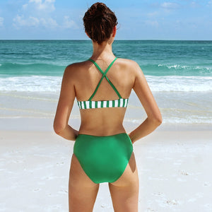 High-waisted Swimsuit Sexy Stripe and Solid Green Padded  Two Pieces Swimwear - FrankyTee
