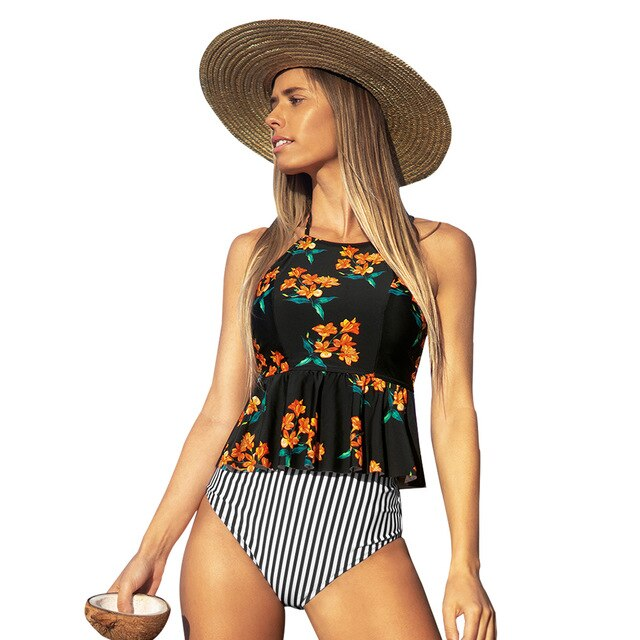 Black Floral Halter Tankini High-Waisted Two Pieces Bathing Suits - FrankyTee