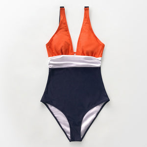 Orange White and Navy Ruching One-Piece Swimsuit Sexy V-neck Women Bikinis - FrankyTee
