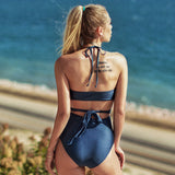 Sexy Cut Out Lace Up Monokini Solid Navy Wrap Halter One-Piece Swimsuit - FrankyTee