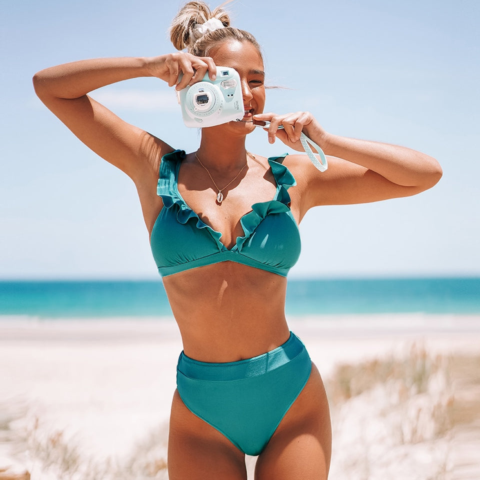 Solid Red Green Ruffled High-Waisted Bikini Sets Sexy Swimsuit Two Pieces Swimwear - FrankyTee