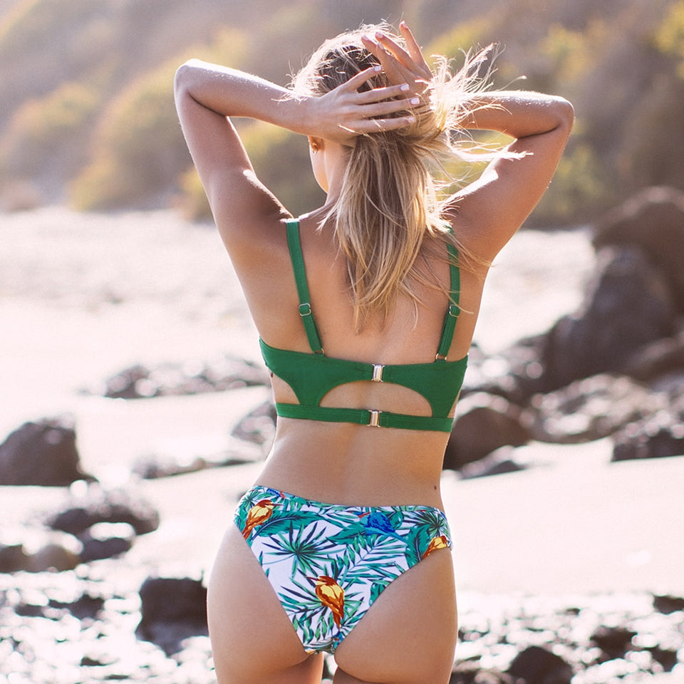 Two Pieces Swimwear Green and Leafy Print Mid-waisted Bikini Cute Cut Out Swimsuit - FrankyTee