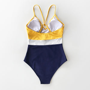 V-Neck One-Piece Swimsuit Colorblock Yellow White Navy Sexy Padded Women Monokini - FrankyTee