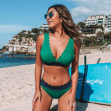 Green and Navy Scalloped Bikini Sets Sexy V-neck Swimsuit Two Pieces Swimwear - FrankyTee