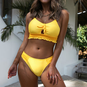 Two Pieces Swimwear Yellow Ruffle Bikini Sets Sexy Cutout Bowknot Elastic Swimsuit - FrankyTee