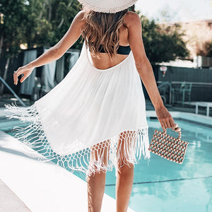 Sexy Backless Beachwear White With V-neck Sexy Dress Beach Suits - FrankyTee