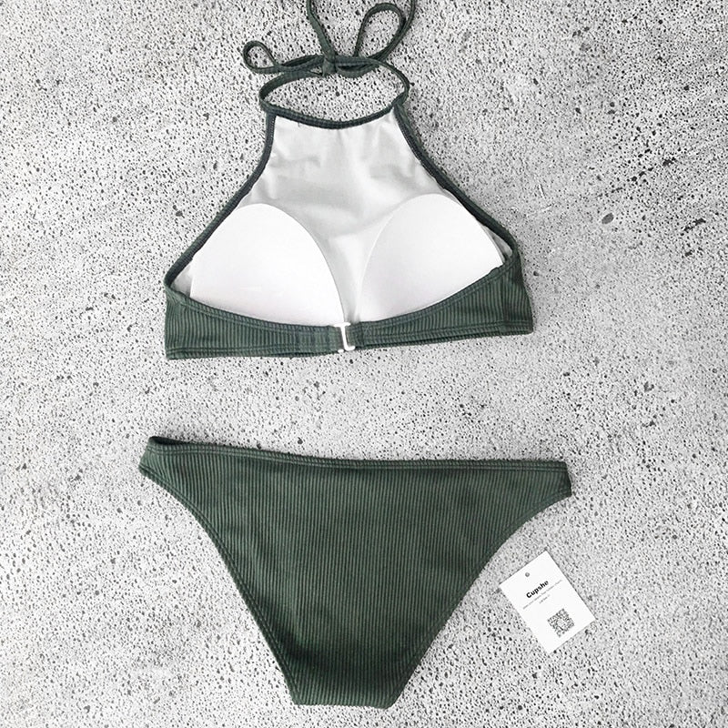 Matcha Ice Cream Halter Bikini Sets Two Pieces Swimwear Beach Bathing Swimsuit - FrankyTee