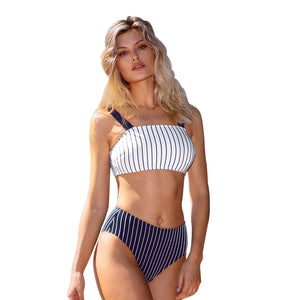 Swimsuit Two Pieces Swimwear Women Pinstripe Bandeau High-waisted Bikini Sets Sexy - FrankyTee
