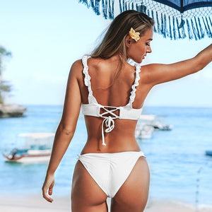 Sexy Solid White Ruffled Ribbed Thong Bikini Sets Lace Up Swimsuit Two Pieces Swimwear - FrankyTee