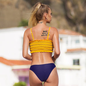 Sexy Yellow and Purple Smocked Bandeau Top Bikini Sets Swimsuit Two Pieces - FrankyTee