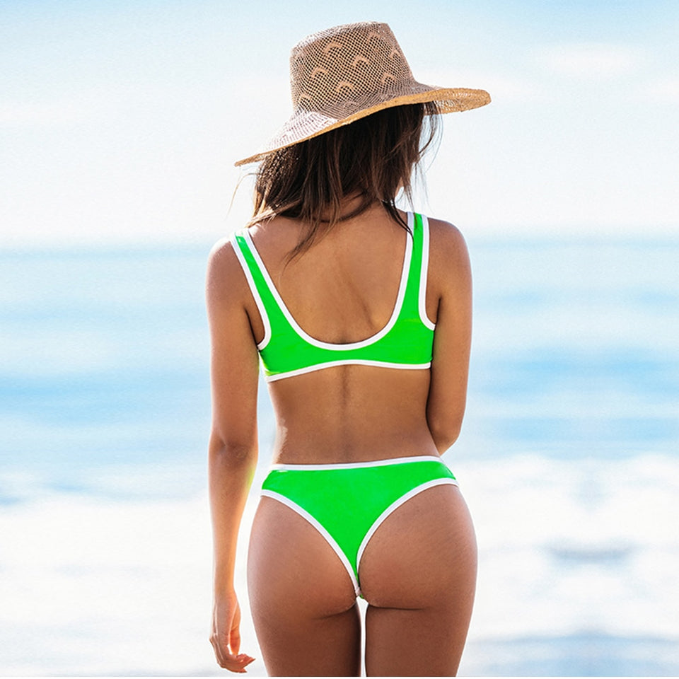 Neon Green and White Trim Sporty Thong Bikini Sets Tank Swimsuit Two Pieces - FrankyTee