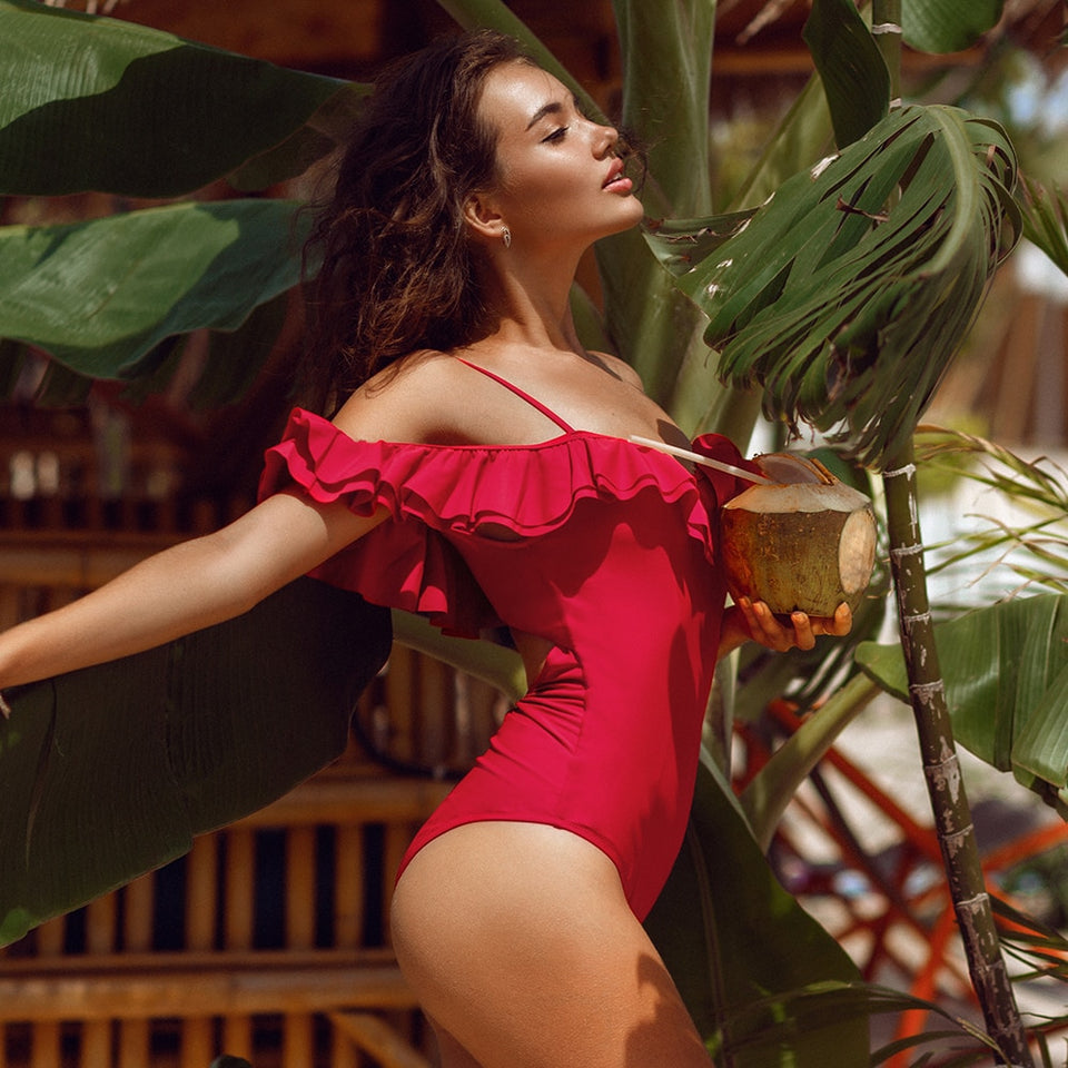Solid Red Off-The-Shoulder Ruffles One-Piece Swimsuit Sexy Padded Cupsa - FrankyTee
