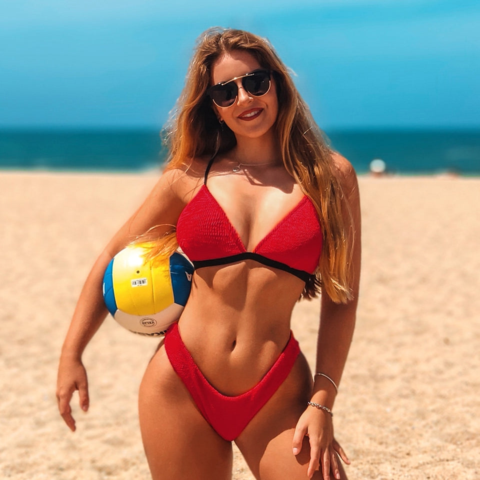 Sexy Red Textured Triangle Thong Bikini Sets Low-rise Swimsuit Two Pieces Swimwear - FrankyTee