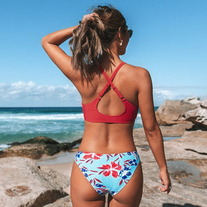 Red and Floral Print Low-Waisted Bikini Sets Swimsuit Sexy Bow-knot Two Pieces Swimwear - FrankyTee