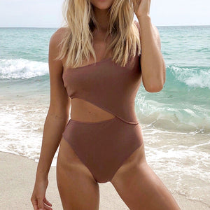 Sexy One Shoulder Cut Out One-piece Swimwear Beach Bathing Suits - FrankyTee