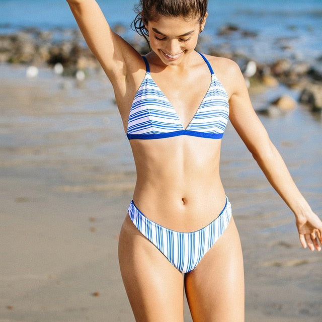 Sporty Blue Striped Thong Bikini Sets Mid-waist Padded Swimsuit Two Pieces Swimwear - FrankyTee